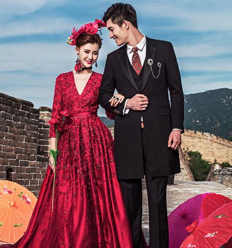 中国红-万里长城 婚纱照