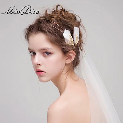 仙美复古的纯手工羽毛新娘发饰