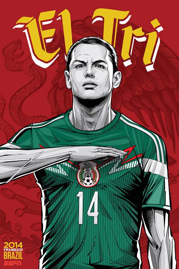 吹响冲锋号:2014巴西世界杯球星海报
