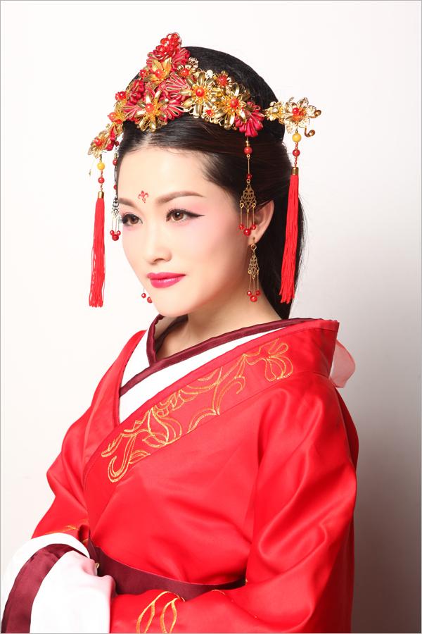 汉服新娘盘发教程 最美新人穿汉服演绎穿越之恋