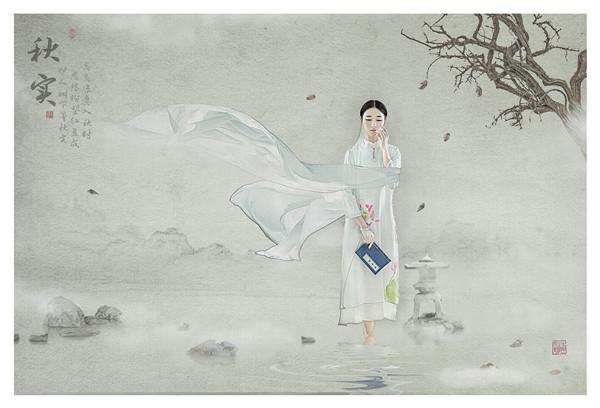 中国工笔画风后期作品 听风