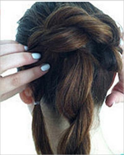 中长发新娘盘发发型步骤