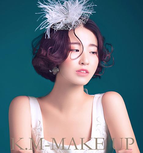 韩式短发新娘 化妆造型图片