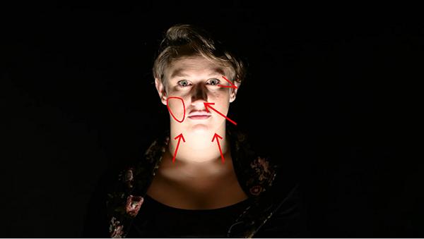 这方法下由于不是正面向人像打灯,所以在照亮脸部