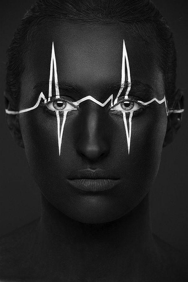 黑白创意脸谱摄影