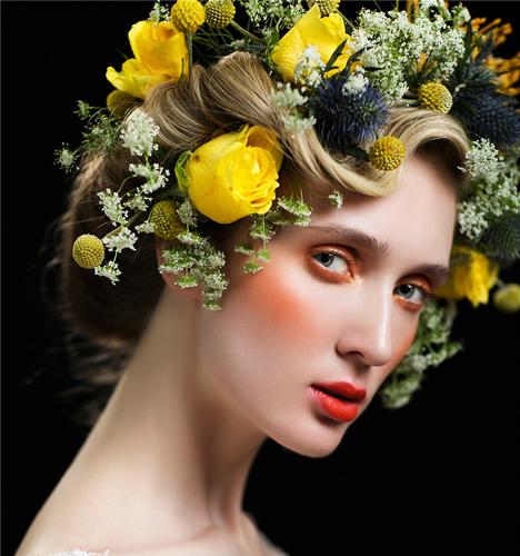 缤纷鲜花唯美头饰造型 化妆造型
