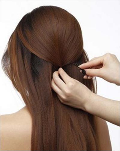 韩式新娘盘发发型图解一,甜美淑女盘发图片