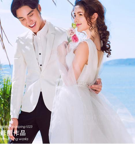 漫步海边 婚纱照