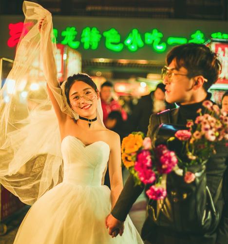 路北 小吃街 婚纱照