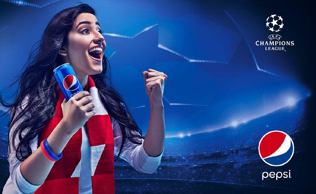 百事可乐经典电商海报 欧洲足球冠军联赛系列