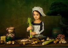 复古油画风格儿童摄影的用色教程