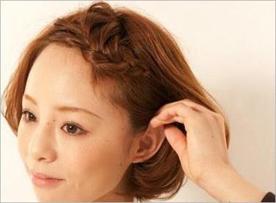 短发新娘刘海编发教程 甜美又可爱图片