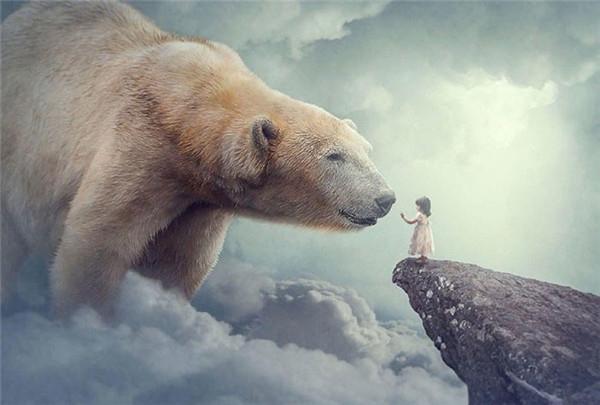 ps合成教程 制作温柔的北极熊和小女孩图片
