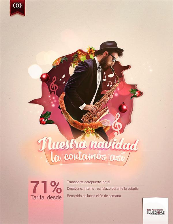 国外酒店的圣诞节海报平面设计欣赏