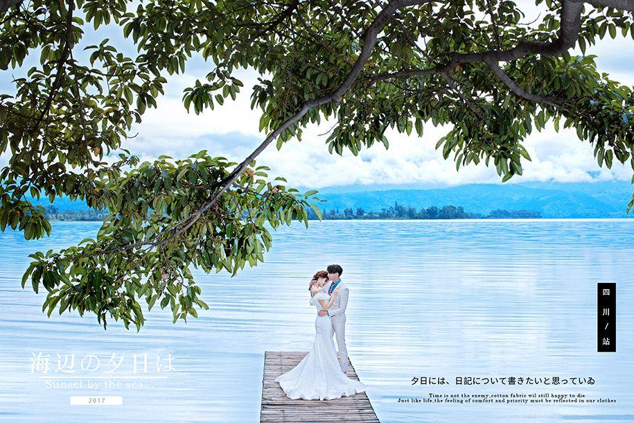 海边夕阳 婚纱照