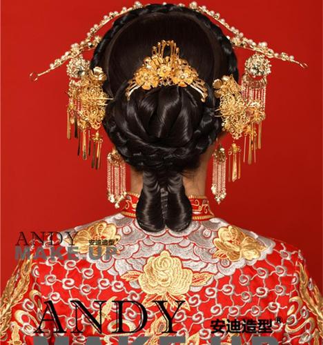 中式新娘盘发造型 化妆造型