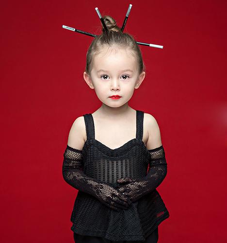 红色系 儿童摄影