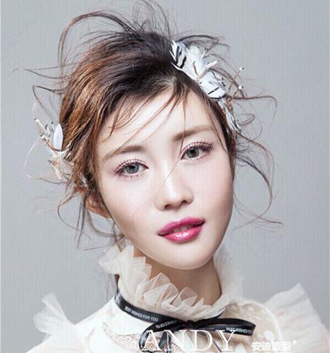 短发新娘妆容造型 化妆造型