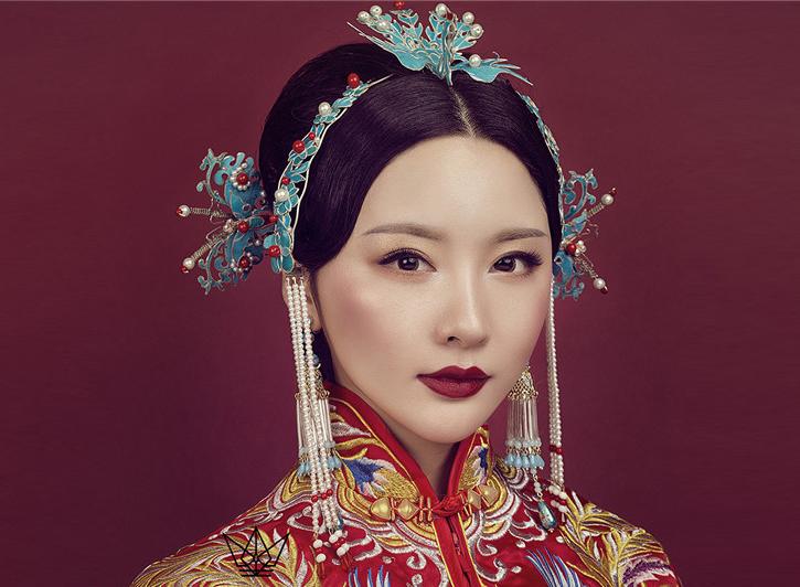 中式发钗新娘妆容赏析