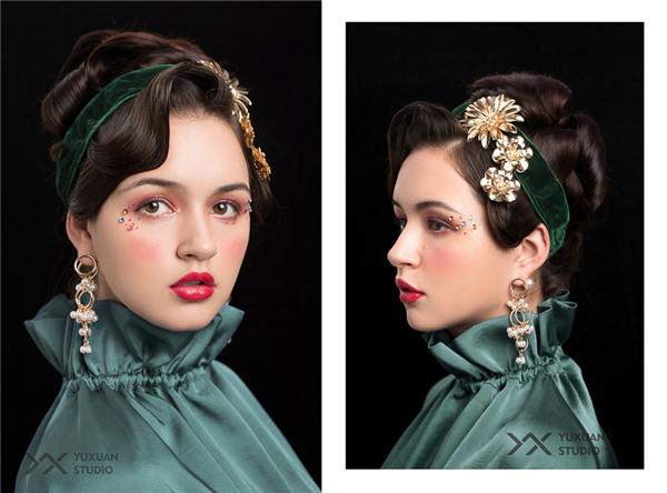 影楼化妆 妆面赏析 娇俏妆容演绎复古造型           复古风格的写真