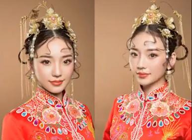 花茜中式新娘造型妆发化妆过程