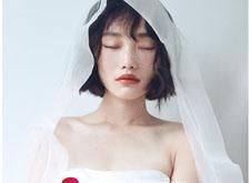 短发俏皮系列的轻婚纱风格造型