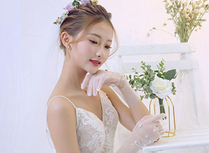 清新日式紋理白紗新娘造型