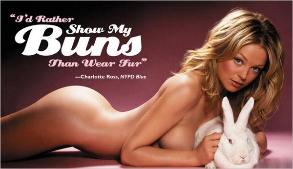 人体广告 为公益一脱到底 PETA群星全裸人体写真广告集
