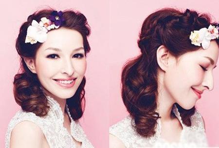 2014新娘发型图片巧用花朵打造俏美新娘