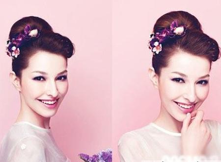复古盘发发型+花朵发饰新娘造型