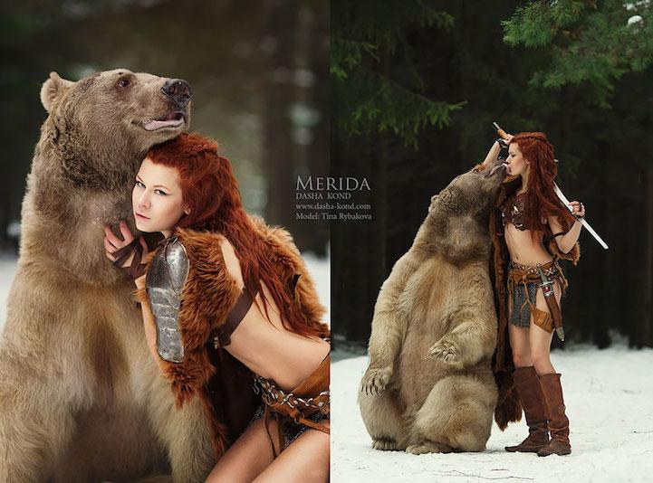 最新影楼资讯新闻-野性的光辉 俄罗斯版美女与野兽创意人像写真