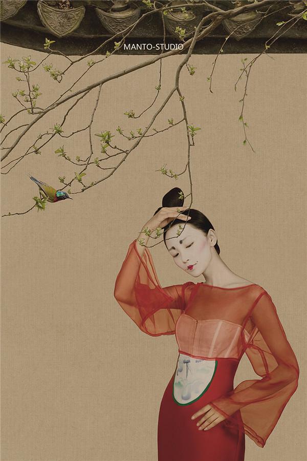 戏子入画一生天涯 中国工笔画风格后期作品:戏子入画 一生天涯