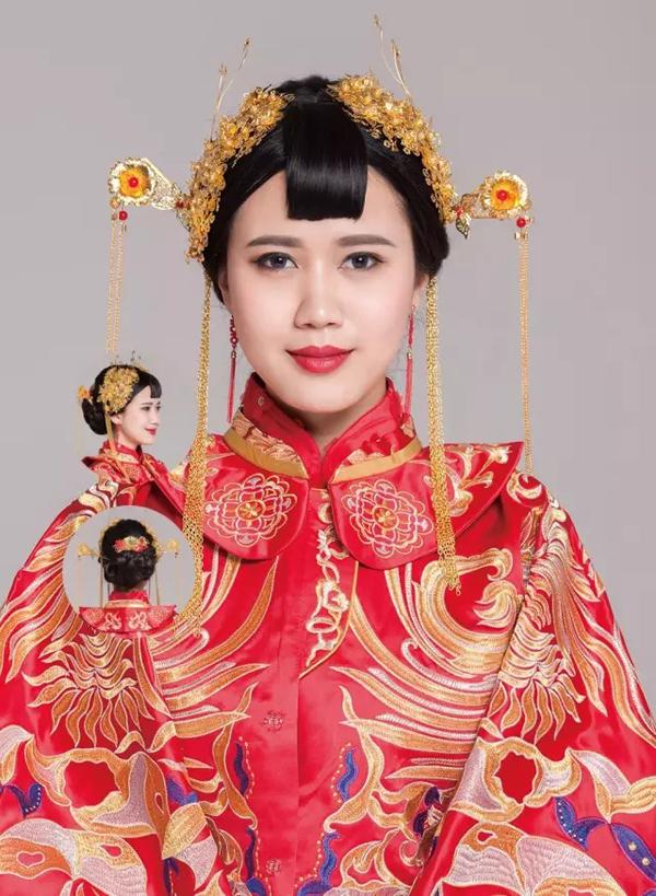 新娘盘头化妆视频 非常火的复古典雅中式新娘造型盘发详解