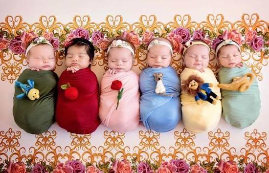 公主摄影 同时给6个小女婴拍公主写真 摄影师还真不容易