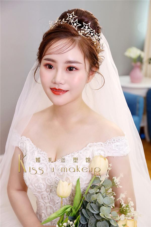 清新橘色系新娘造型