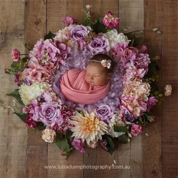 婴儿满月照:如花灿烂的小生命
