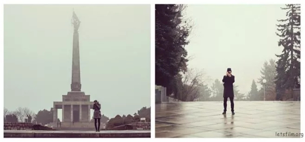 闯荡世界的伴侣互为拍摄,一个场景两种景致