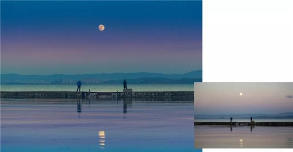 同一张照片的不同色调:海上明日共潮生
