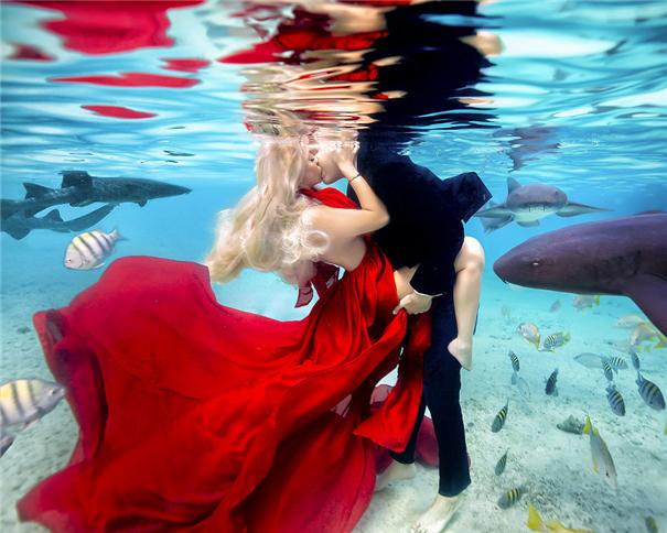 开启震撼视觉的水下婚纱 感想不敢拍的新视野