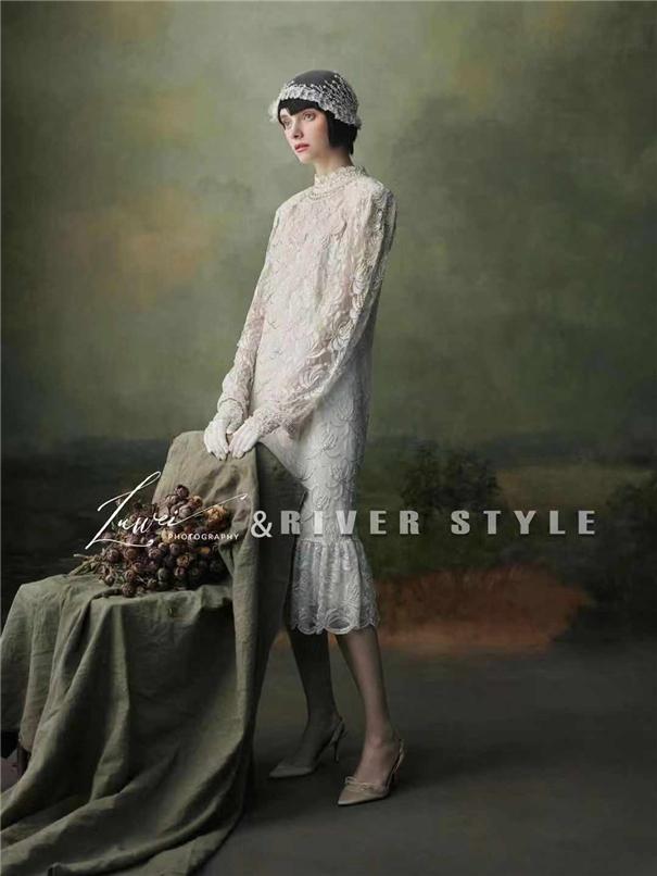 古董婚紗禮服 手工頭紗肖像作品