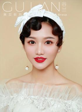 復古白紗新娘造型